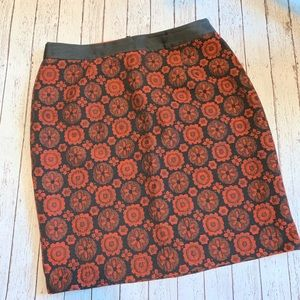 Boden Black and Red Medallion Floral Pencil Skirt